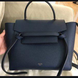 Authentic Celine Mini Belt Bag (Navy)
